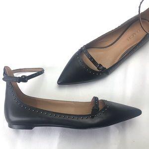 Coach Black Leather Studded Jody Flats Size 10B